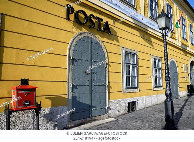 Post office in a yellow building. Hungary, Budapest, Buda, Castle Hill