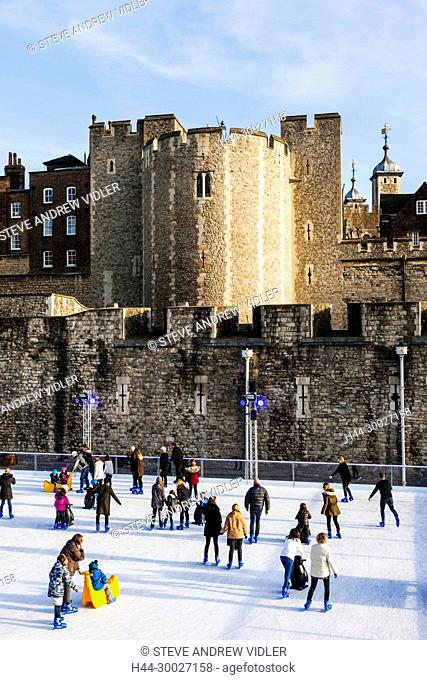 England, London, Tower of London, Ice Skating