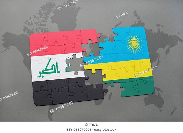 puzzle with the national flag of iraq and rwanda on a world map background. 3D illustration
