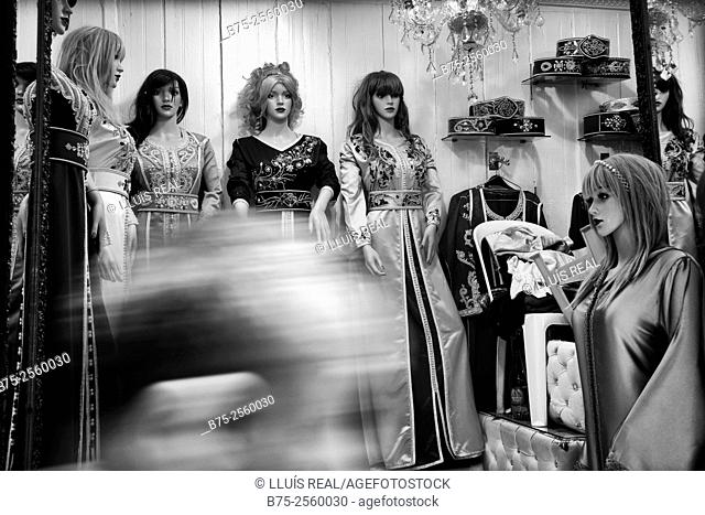 Arab fashion ladies shop in Fez Medina. Fes, Historic City, Heritage, Morocco, Africa