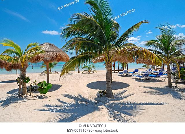 Picture of a beautiful beach of Mahahual in Mexico