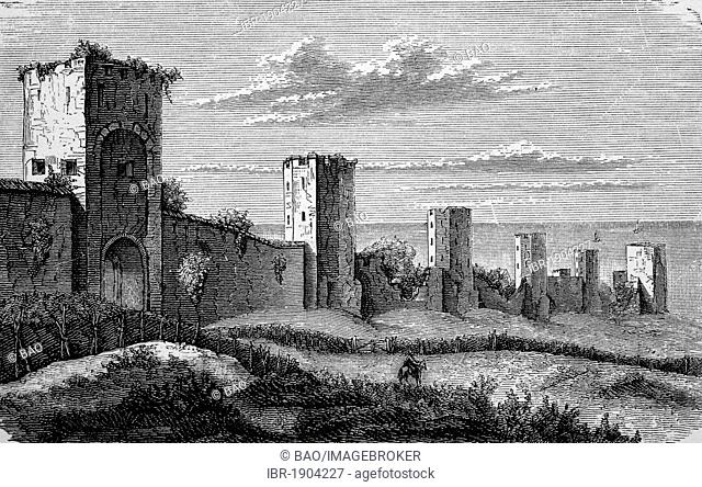 City walls of Visby, Sweden, in the Middle Ages, historical woodcut, 1870