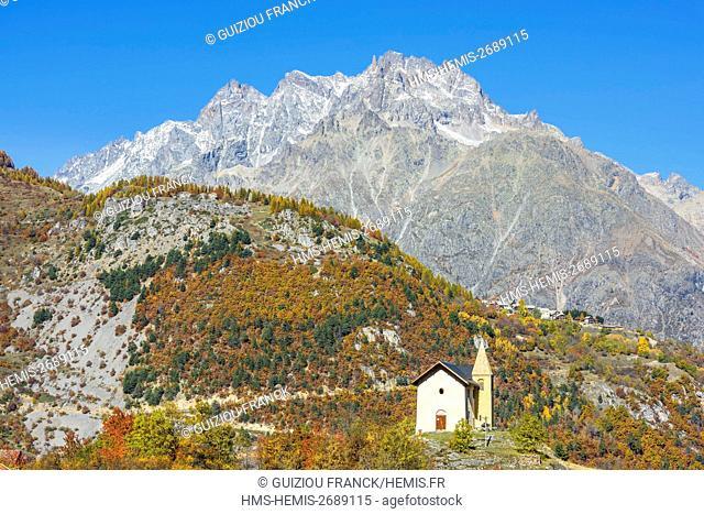 France, Hautes Alpes, Brianconnais region, Vallouise valley, Puy Saint Vincent, Saint Romain chapel