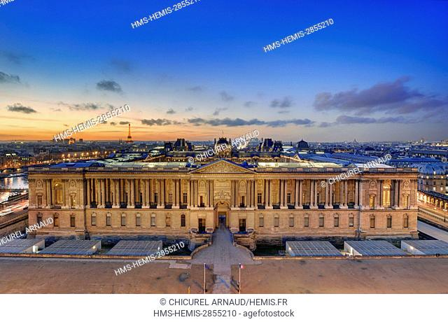 France, Paris, area listed as World Heritage by UNESCO, Louvre museum, the Colonnade, probably designed by architect Claude Perrault as the main entrance of the...