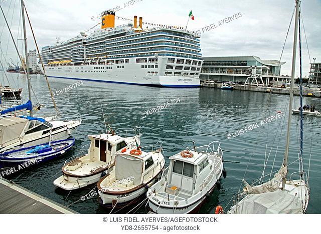 Costa Cruises Costa Deliziosa docked in the port of Savona, Liguria, italy