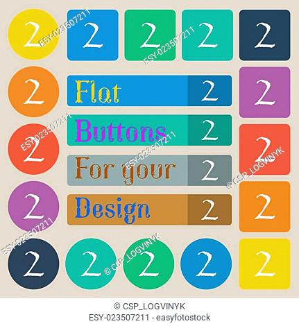 Second place award sign. Winner symbol. Step two. Set of twenty colored flat, round, square and rectangular buttons. Vector