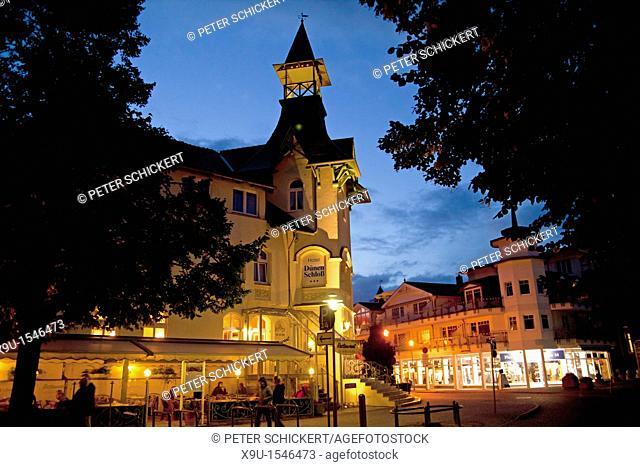 special historist style Architecture Baederarchitektur of Hotel Duenen Schloss in the seaside resort Zinnowitz, Usedom island, Mecklenburg-Vorpommern, Germany