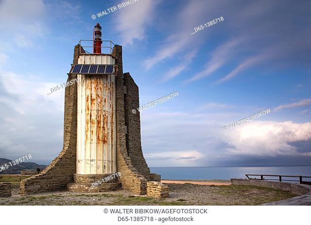 France, Languedoc-Roussillon, Pyrennes-Orientales Department, Vermillion Coast Area, Cerbere, Cap Cerbere Lighthouse