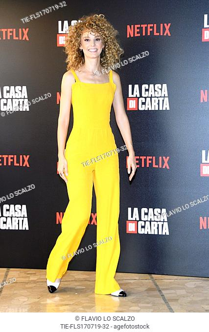 Esther Acebo during photocall for the presentation of Spanish TV show 'La Casa de Papel' in Milan, Italy, 17 July 2019