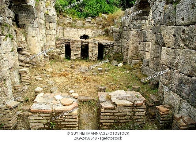 Bath House-Phaselis, showing tiles that supported a hypercaust heating system, Turkey