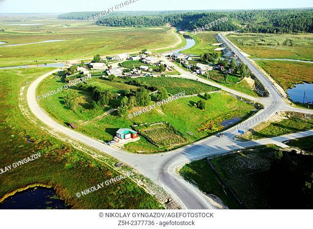 Siberian landscape. Road. Tyumen region