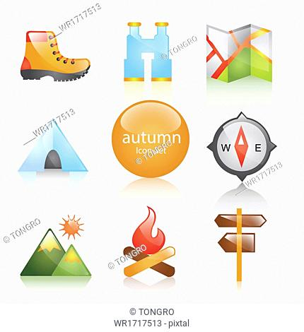 A set of icons related to autumn