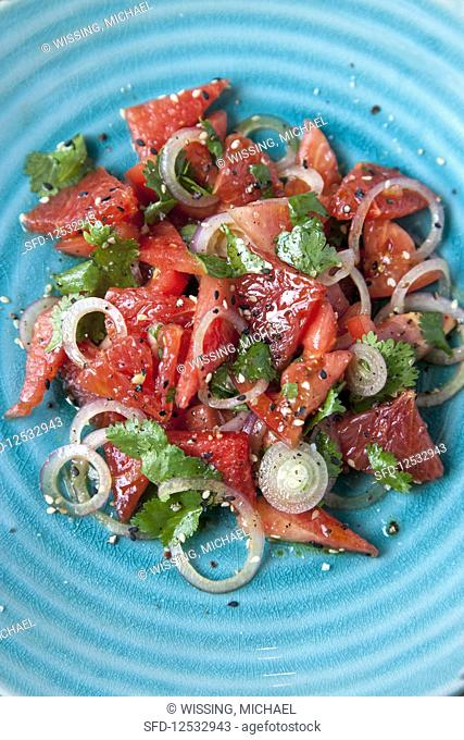 Watermelon and tomato salad with grapefruit and coriander
