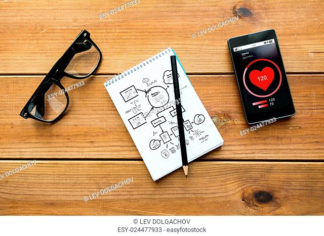 health care and technology concept - close up of scheme drawing in notepad with pencil, with heart rate on smartphone and eyeglasses on wooden table