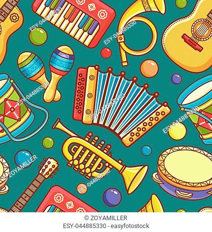 Musical instrument. Seamless pattern. Vector ornament. Cartoon style