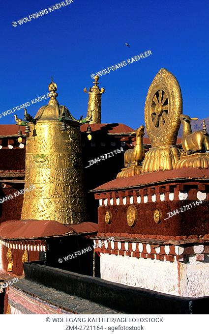View of the gilded architecture at the Jokhang Temple in Lhasa, Tibet, China
