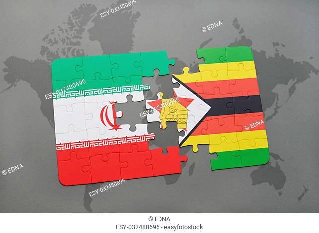 puzzle with the national flag of iran and zimbabwe on a world map background. 3D illustration