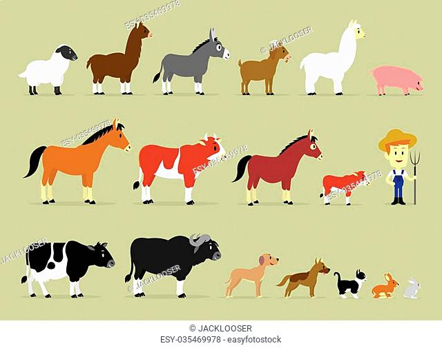 Cute Cartoon Farm Characters including a farmer and 17 animals (Sheep, Llama, Donkey, Goat, Alpaca, Pig, Horse, Cow, Mule, Calf, Cow, Buffalo, Great Dane Dog