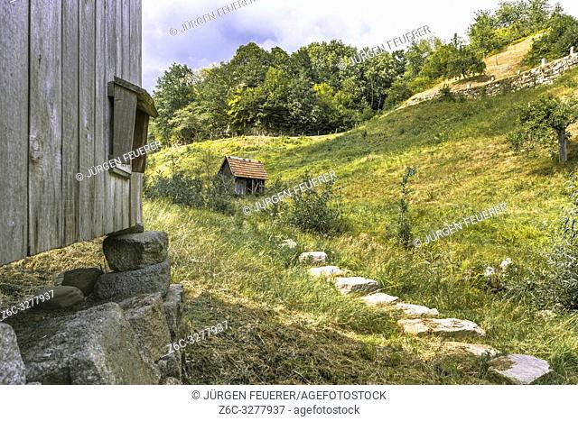 hiking trail Ziegenpfad near village Forbach, Northern Black Forest, Germany, the hay huts are heritage of ancient immigrants