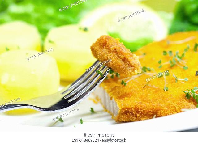 Schnitzel on fork