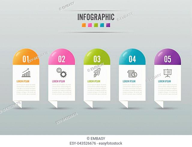 Infographics design vector and marketing icons can be used for workflow layout, diagram, annual report, web design. Business concept with 5 options