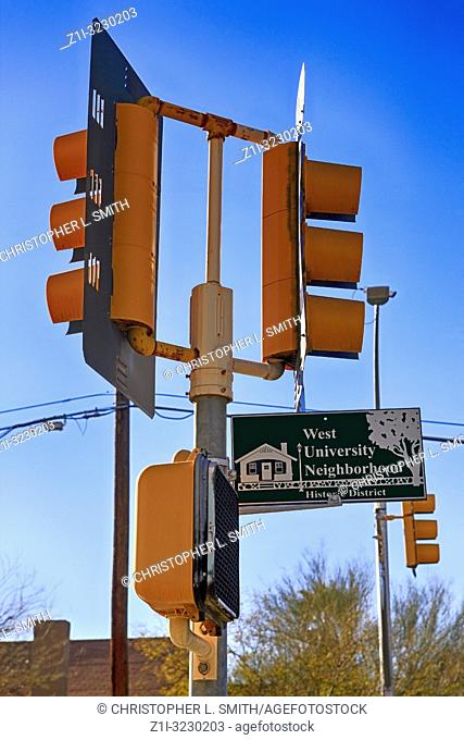 West University Neighborhood sign at the intersection of University and Euclid in downtown Tucson AZ