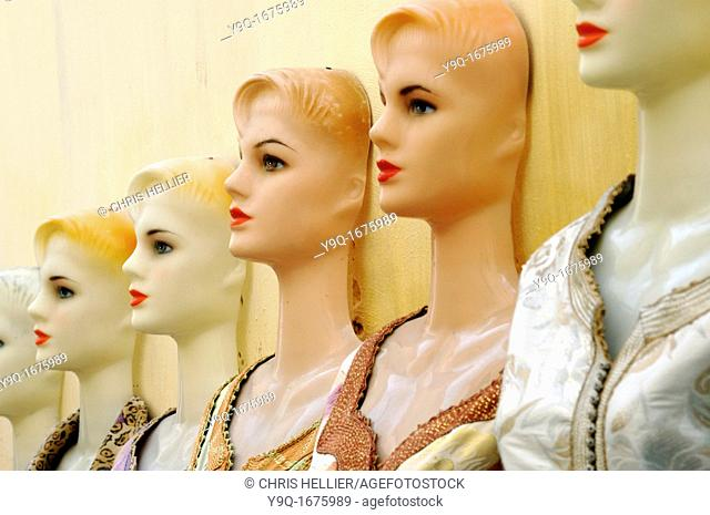 Row of Dressmakers Dummies or Mannequins in the Market or Medina Fez Morocco