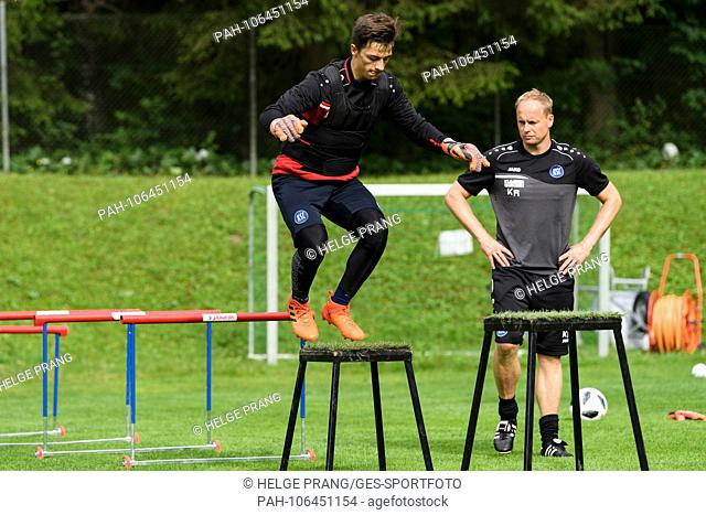 Goalkeeper Mario Schlagl (KSC) in the cross bike training with goalkeeping coach Kai Rabe (KSC). GES / Soccer / 3rd league: Karlsruher SC - Training camp...
