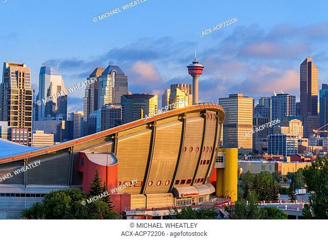 Calgary skyline with the Saddledome and Calgary tower, Calgary, Alberta, Canada
