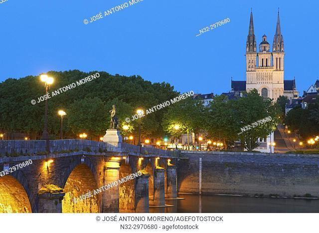 Angers, Cathedral, Dusk, Maine et Loire, Anjou Province, River Maine, Pays de la Loire, Loire Valley, UNESCO World Heritage Site, France