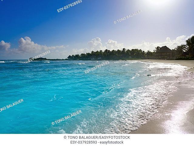 Tulum Caribbean turquoise beach in Riviera Maya of Mayan Mexico