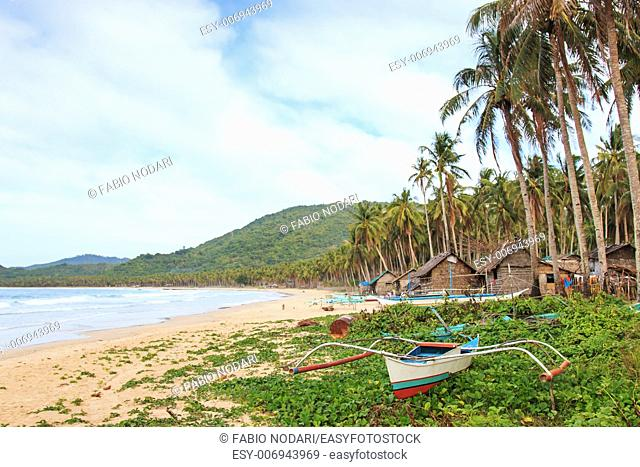 Beach of Nacpan in Palawan, Philippines