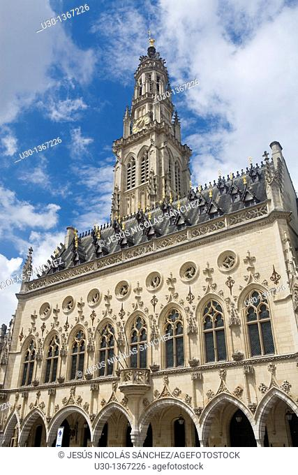 Town Hall in the Place des Heros and the belfry listed as World Heritage by UNESCO  Arras  Pas de Calais  France