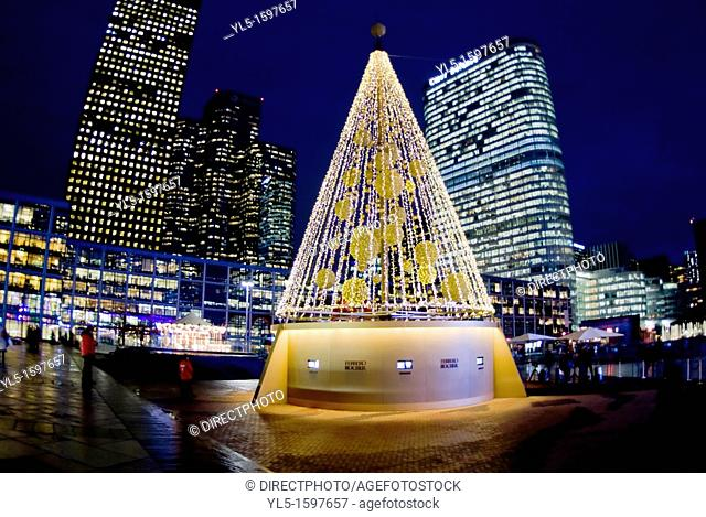 Paris, France, Christmas Tree Decorations at French Christmas Market, Marché au Noel, in La Defense Business Center, at Night