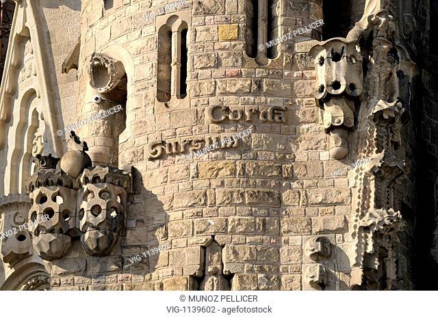 SPAIN, BARCELONA, 22.02.2009, Facade detail. Temple Expiatori de la Sagrada Familia (-Templo Expiatorio de la Sagrada Familia- in spanish or -Expiatory Temple...
