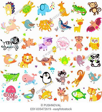 Vector illustration of cute animals and birds: Yak, quail, giraffe, vampire bat, cow, sheep, bear, owl, raccoon, hedgehog, whale, panda, lion, deer, x-ray fish