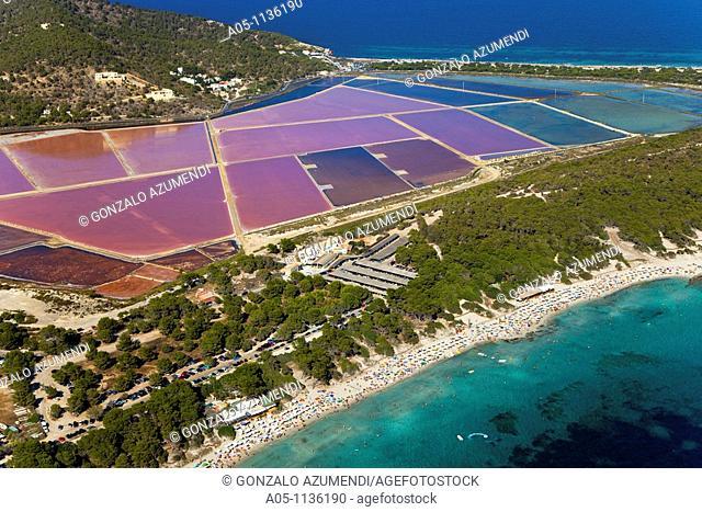Ses Salines Beach and salt pit. Ibiza. Balearic Islands. Spain
