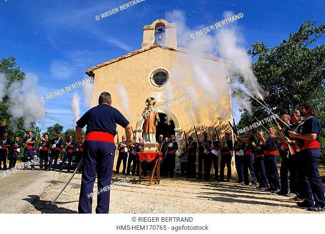 France, Var, Provence Verte Green Provence, Bras village, Bravade, procession of Saint Etienne Saint Stephen, bravaders firing a blank