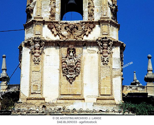 The Baroque bell tower of the church in the Convent of Santo Domingo in Orihuela, Valencia. Spain, 16th century