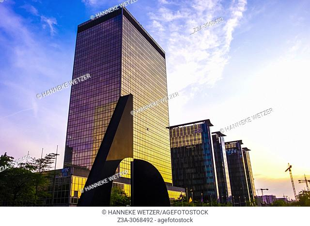 WTC during golden hour in Brussels, Belgium, Europe