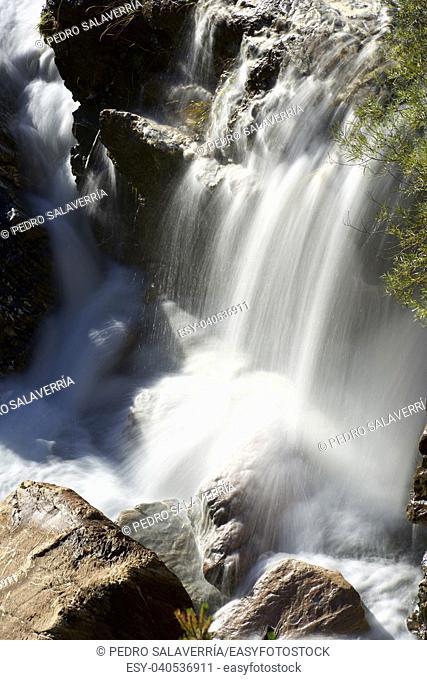 Waterfall in Tena Valley, Pyrenees, Huesca Province, Aragon, Spain