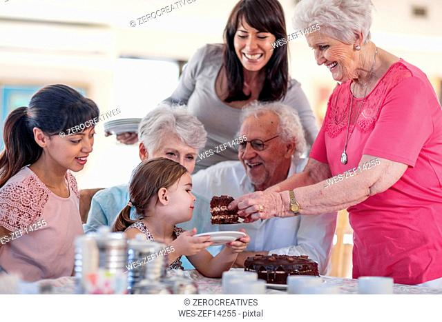 Grandparents celebrating a birthday with their granddaughter, eating chocolate cake