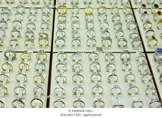 Diamond rings in the Gold Souk, Deira, Dubai, United Arab Emirates, Middle East