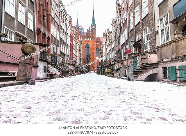 Mariacka street in winter, Gdansk, Poland with no people