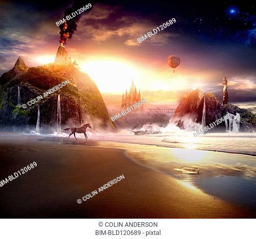 Sun rising over dramatic landscape