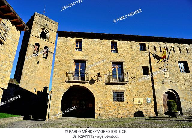 Main square and Santa Maria church of Ainsa, Huesca, Spain