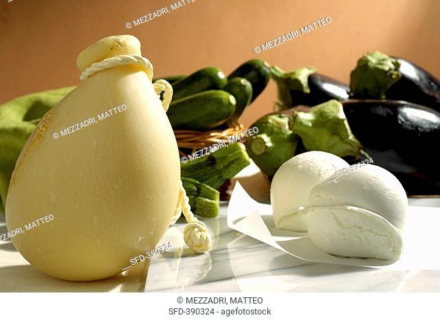 Caciocavallo, mozzarella, courgettes and aubergines