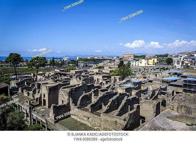 Herculaneum, ancient Roman town destroyed by volcanic eruption in 79 AD, Ercolano, Naples, Italy