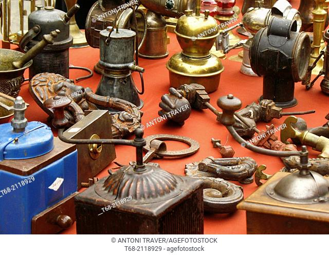 Antique metal objects in a street market, Lleida, Spain