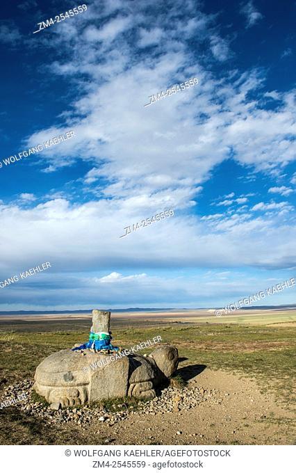 A stone tortoise on a hill above the Erdene Zuu monastery (UNESCO World Heritage Site) in Kharakhorum (Karakorum), Mongolia